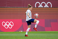 KASHIMA, JAPAN - AUGUST 2: Emily Sonnett #14 of the USWNT warms up during a game between Canada and USWNT at Kashima Soccer Stadium on August 2, 2021 in Kashima, Japan.