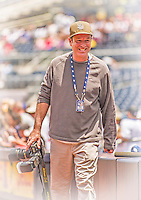 23 June 2013: San Diego Padres team photographer Andy Hayt smiles prior to a game against the Los Angeles Dodgers at Petco Park in San Diego, California. The Dodgers defeated the Padres 3-1, splitting their 4-game Divisional Series at 2-2. Mandatory Credit: Ed Wolfstein Photo *** RAW (NEF) Image File Available ***