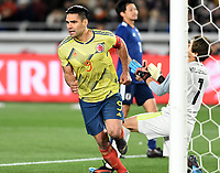 YOKOHAMA - JAPON, 22-03-2019: Falcao Garcia de Colombia celebra después de anotar el primer gol de su equipo durante partido amistoso de la fecha FIFA marzo 2019 entre las selecciones de Japón y Colombia jugado en el estadio Nissan de la ciudad de Yokohama. / Falcao Garcia of Colombia celebrates after scoring the first goal of his team during friendly match for the FIFA date March 2019 between national teams of Japan and Colombia played at Nissan stadium in Yokohama city. Photo: VizzorImage / VizzorImage / Julian Medina / Cont