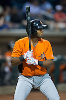 Aderlin Rodriguez (9) of the Frederick Keys at bat against the Winston-Salem Dash at BB&T Ballpark on May 24, 2016 in Winston-Salem, North Carolina.  The Keys defeated the Dash 7-1.  (Brian Westerholt/Four Seam Images)