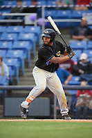 Akron RubberDucks first baseman Bobby Bradley (44) at bat during a game against the Binghamton Rumble Ponies on May 12, 2017 at NYSEG Stadium in Binghamton, New York.  Akron defeated Binghamton 5-1.  (Mike Janes/Four Seam Images)