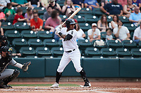 Yolbert Sanchez (2) of the Winston-Salem Dash at bat against the Greensboro Grasshoppers at Truist Stadium on June 19, 2021 in Winston-Salem, North Carolina. (Brian Westerholt/Four Seam Images)