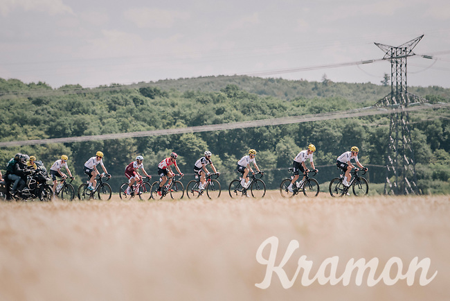 Team SKY leading the peloton in service of yellow jersey Geraint Thomas (GBR/SKY) & team leader Chris Froome (GBR/SKY)<br /> <br /> 104th Tour de France 2017<br /> Stage 4 - Mondorf-les-Bains › Vittel (203km)