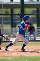 Chicago Cubs right fielder Kwang-Min Kwon (25) follows through on his swing during an Extended Spring Training game against the Colorado Rockies at Sloan Park on April 17, 2018 in Mesa, Arizona. (Zachary Lucy/Four Seam Images)
