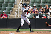 Jameson Fisher (11) of the Kannapolis Intimidators at bat against the West Virginia Power at Kannapolis Intimidators Stadium on June 18, 2017 in Kannapolis, North Carolina.  The Intimidators defeated the Power 5-3 to win the South Atlantic League Northern Division first half title.  It is the first trip to the playoffs for the Intimidators since 2009.  (Brian Westerholt/Four Seam Images)