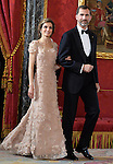 Princes Felipe and Letizia of Spain attend the honor dinner for the Imperial Highness the Crown Prince of Japan Hiro-no-miya Naruhito Shinno in the Royal Palace.June 12,2013. (ALTERPHOTOS/Pool)