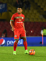 BOGOTA - COLOMBIA - 09 – 05 - 2017: Feiver Mercado, jugador de Cortulua, en acción, durante partido de la fecha 17 entre Millonarios y Cortulua, por la Liga Aguila I-2017, jugado en el estadio Nemesio Camacho El Campin de la ciudad de Bogota. / Feiver Mercado, player of Cortulua, in action during a match of the date 17th between Millonarios and Cortulua, for the Liga Aguila I-2017 played at the Nemesio Camacho El Campin Stadium in Bogota city, Photo: VizzorImage / Luis Ramirez / Staff.