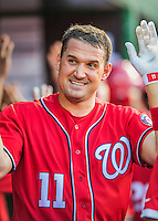 28 May 2016: Washington Nationals first baseman Ryan Zimmerman celebrates hitting his 7th home run of the season to during a game against the St. Louis Cardinals at Nationals Park in Washington, DC. The Cardinals defeated the Nationals 9-4 to take a 2-games to 1 lead in their 4-game series. Mandatory Credit: Ed Wolfstein Photo *** RAW (NEF) Image File Available ***