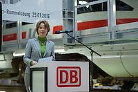 Am Freitag den 29. Januar 2016 wurde nach drei Jahren Umbauzeit eine neue Triebzughalle fuer ICE-Zuege auf dem Gelaende des Bahnbetriebswerk in Berlin-Rummelsburg eroeffnet.<br /> Die in den 1980er Jahren gebaute Wartungshalle wurde auf 380 Meter verlaengert und der komplette Hallenboden um einen Meter abgesenkt, um zwei 370 Meter lange Gleisbereiche einbauen zu koennenauf denen ICE-Zuege zeitgleich in vier unabhaengigen Arbeitsebenen instandgehalten werden. In Sachen Umweltschutz sorgen die neue Heizungs- und Beleuchtungsanlage sowie die neue Waermedaemmung fuer hohe Energieeinsparungen. Alle betriebswichtigen technischen Anlagen und Einrichtungen sind in den Betriebsfuehrungsrechner des Werks eingebunden. Damit ist es den Mitarbeiterinnen und Mitarbeitern der Leitstelle moeglich, jederzeit alle wichtigen Informationen zum Zug und zu den aktuellen Arbeiten im Blick zu haben. Die Gesamtkosten der neuen Anlage belaufen sich auf rund 40 Millionen Euro. Die Halle wird soll im Maerz 2016 nach der Betriebserprobung und dem Abschluss aller Bauarbeiten in Betrieb gehen.<br /> Im Bild: Birgit Bohle, DB Fernverkehr AG, Vorstandsvorsitzende. <br /> 27.1.2016, Berlin<br /> Copyright: Christian-Ditsch.de<br /> [Inhaltsveraendernde Manipulation des Fotos nur nach ausdruecklicher Genehmigung des Fotografen. Vereinbarungen ueber Abtretung von Persoenlichkeitsrechten/Model Release der abgebildeten Person/Personen liegen nicht vor. NO MODEL RELEASE! Nur fuer Redaktionelle Zwecke. Don't publish without copyright Christian-Ditsch.de, Veroeffentlichung nur mit Fotografennennung, sowie gegen Honorar, MwSt. und Beleg. Konto: I N G - D i B a, IBAN DE58500105175400192269, BIC INGDDEFFXXX, Kontakt: post@christian-ditsch.de<br /> Bei der Bearbeitung der Dateiinformationen darf die Urheberkennzeichnung in den EXIF- und  IPTC-Daten nicht entfernt werden, diese sind in digitalen Medien nach §95c UrhG rechtlich geschuetzt. Der Urhebervermerk wird gemaess §13 UrhG verlangt.]