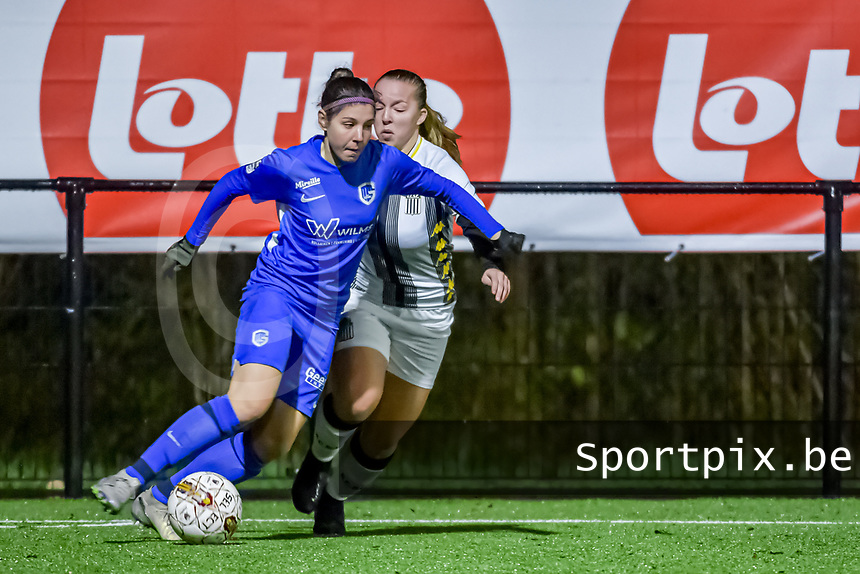 Genk's midfielder Lorene Martin (6) and Charleroi midfielder Megane Vos (20) pictured during a female soccer game between Sporting Charleroi and KRC Genk Ladies on the 9th matchday of the 2020 - 2021 season of Belgian Scooore Womens Super League , friday 11 th of December 2020  in Marcinelle , Belgium . PHOTO SPORTPIX.BE | SPP | STIJN AUDOOREN