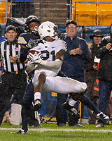 Penn State cornerback Amani Oruwariye (21) intercepts a pass near the goal line. The Penn State Nittany Lions defeated the Pitt Panthers 51-6 on September 08, 2018 at Heinz Field in Pittsburgh, Pennsylvania.