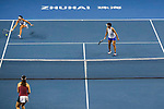 Chen Liang (R) and Zhaoxuan Yang (L) of China in action during the doubles Round Robin match of the WTA Elite Trophy Zhuhai 2017 against Ying-Ying Duan and Xinyun Han of China  at Hengqin Tennis Center on November  04, 2017 in Zhuhai, China. Photo by Yu Chun Christopher Wong / Power Sport Images
