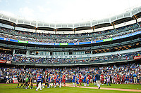 Chelsea FC and Paris Saint-Germain enter the field. Chelsea FC and Paris Saint-Germain played to a 1-1 tie during a 2012 Herbalife World Football Challenge match at Yankee Stadium in New York, NY, on July 22, 2012.