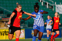 Rochester, NY - Friday June 24, 2016: Alanna Kennedy, Eunice Beckmann during a regular season National Women's Soccer League (NWSL) match between the Western New York Flash and the Boston Breakers at Rochester Rhinos Stadium.