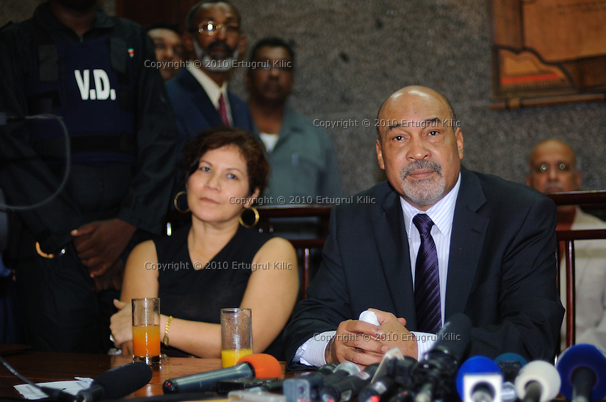 Desi Bouterse (Desiré Delano Bouterse) (R), Ingrid Bouterse-Waldring (L) during his first press conference after selected as The President of Suriname by De Nationale Assemblée (DNA) / The National Assemble...Desi Bouterse (Desiré Delano Bouterse) chosen as new president of Suriname by De Nationale Assemblée (DNA) / The National Assemble of Suriname. He took 36 votes of 51 as leader of the Mega Combination. ....Robert_Ameerali the head of KKF (Kamer van Koophandel en Fabrieken) / Chamber of Commerce and Industry also selected as Vice President.....Desi Bouterse (Desiré Delano Bouterse) will sworn at 3 August 2010