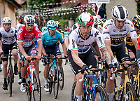 first grupetto, including Giacomo Nizzolo (ITA/Qhubeka ASSOS), up the 15% climb in Guarene, 15 kilometers from the finish <br /> <br /> 104th Giro d'Italia 2021 (2.UWT)<br /> Stage 3 from Biella to Canale (190km)<br /> <br /> ©kramon