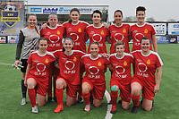 20180414 - DIKSMUIDE , BELGIUM : team of Kontich with Silke Baccarne (GK)   Lucinda Michez (2)   Stefanie Van Broeck (4)   Annelies Van Loock (5)   Annelies Van Den Bergh (8)   Sarah Van Haute (10)   Jolien Belmans (13)   Charlotte Andries (14)   Lisa Verbraeken (15)   Kim De Wambersie (16)   Sanne Corten (23)   pictured during a soccer match between the women teams of Famkes Westhoek Diksmuide Merkem and KFC Kontch  , during the 22th matchday in the 2017-2018  Eerste klasse - First Division season, Saturday 14 April 2018 . PHOTO SPORTPIX.BE | DIRK VUYLSTEKE