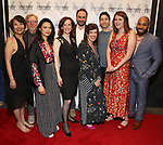 """Jeanne Sakata, Tom Aulino, Tiffany Villarin, Margot Bordelon, Greg Keller, Megan Hill, Justin Long, Mara Nelson-Greenberg and Ugo Chukwu attending the Opening Night Afterparty for The Vineyard Theatre production of  """"Do You Feel Anger?"""" at the Vineyard Theatre on April 2, 2019 in New York City."""
