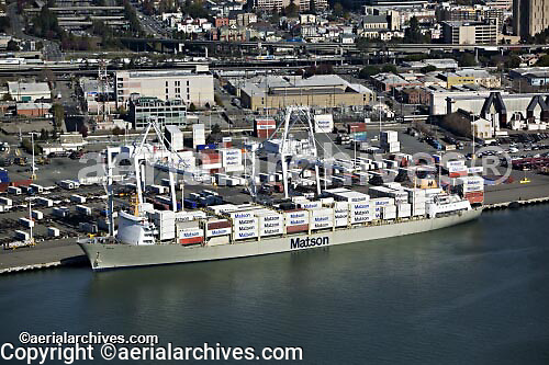 aerial photograph Matson containership Port of Oakland, California