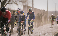 Philippe Gilbert (BEL/Quick Step floors) fighting with the cobbles<br /> <br /> 50th GP Samyn 2018<br /> Quaregnon > Dour: 200km (BELGIUM)