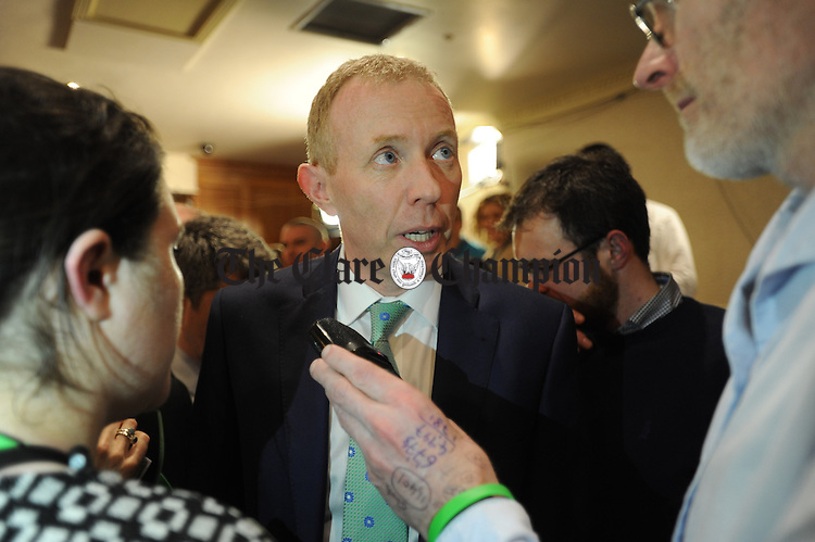 Timmy Dooley, Fianna Fail, is interviewed after his election at theGE2016 count in Ennistymon. Photograph by John Kelly.