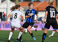 OHL's Lenie Onzia pictured with Marie Minnaert (13 Brugge) during a female soccer game between Club Brugge Dames YLA and Oud Heverlee Leuven on the 8 th matchday of the 2020 - 2021 season of Belgian Scooore Womens Super League , saturday 21 th November 2020  in Knokke , Belgium . PHOTO SPORTPIX.BE | SPP | DAVID CATRY