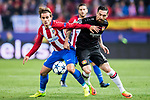 Antoine Griezmann (l) of Atletico de Madrid fights for the ball with Roberto Hilbert of Bayer 04 Leverkusen during their 2016-17 UEFA Champions League Round of 16 second leg match between Atletico de Madrid and Bayer 04 Leverkusen at the Estadio Vicente Calderon on 15 March 2017 in Madrid, Spain. Photo by Diego Gonzalez Souto / Power Sport Images