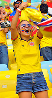 BELO HORIZONTE - BRASIL -28-06-2014. Los hinchas colombianos disfrutan del juego de los octavos de final en el estadio Maracaná de Rio de Janeiro entre Colombia (COL) y Uruguay (URU), hoy 29 de junio de 2014, por la Copa Mundial de la FIFA Brasil 2014./ Fans of Colombia enjoy the match of the Round of 16 at Maracana stadium in Rio do Janeiro between Colombia (COL) and Grece(GRC), today June 28 2014 for the 2014 FIFA World Cup Brazil. Photo: VizzorImage / Alfredo Gutiérrez / Contribuidor