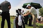 Padaig Harrington gets ready to tee off with Adam Scott during  Day 2 at the Dubai World Championship Golf in Jumeirah, Earth Course, Golf Estates, Dubai  UAE, 20th November 2009 (Photo by Eoin Clarke/GOLFFILE)
