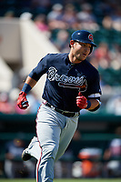 Atlanta Braves catcher Alex Jackson (70) runs to first base during a Grapefruit League Spring Training game against the Detroit Tigers on March 2, 2019 at Publix Field at Joker Marchant Stadium in Lakeland, Florida.  Tigers defeated the Braves 7-4.  (Mike Janes/Four Seam Images)