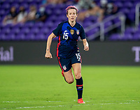 ORLANDO, FL - FEBRUARY 24: Megan Rapinoe #15 of the USWNT sprints during a game between Argentina and USWNT at Exploria Stadium on February 24, 2021 in Orlando, Florida.