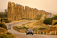 Tunisia, near Mohamedia.  Remains of Roman Aquaduct Carrying Water from Zaghouan to Carthage.  Late Afternoon.