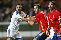 Spain's Sergio Busquets (c) and Sergio Ramos (r) and Israel's Eran Zahavi during FIFA World Cup 2018 Qualifying Round match. March 24,2017.(ALTERPHOTOS/Acero) /NortePhoto.com