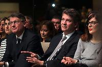 Vincent Peillon, Arnaud Montebourg, Valerie Donzelli, investiture de BenoÓt Hamon a la presidentielle du Parti Socialiste (PS) a la mutualitÈ de Paris, le dimanche 5 fÈvrier 2017
