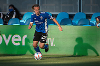 SAN JOSE, CA - MAY 22: Tommy Thompson #22 of the San Jose Earthquakes dribbles the ball during a game between San Jose Earthquakes and Sporting Kansas City at PayPal Park on May 22, 2021 in San Jose, California.