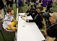 Drew Alleman of LSU talks with the reporters during BCS Media Day at Mercedes-Benz Superdome in New Orleans, Louisiana on January 6th, 2012.
