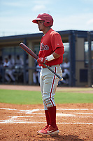 GCL Phillies East Jose Tortolero (33) bats during a Gulf Coast League game against the GCL Yankees East on July 31, 2019 at Yankees Minor League Complex in Tampa, Florida.  GCL Yankees East defeated the GCL Phillies East 11-0 in the first game of a doubleheader.  (Mike Janes/Four Seam Images)