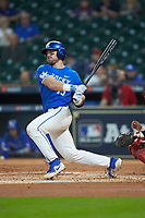 Kole Cottam (13) of the Kentucky Wildcats follows through on his swing against the Louisiana Ragin' Cajuns in game seven of the 2018 Shriners Hospitals for Children College Classic at Minute Maid Park on March 4, 2018 in Houston, Texas.  The Wildcats defeated the Ragin' Cajuns 10-4. (Brian Westerholt/Four Seam Images)