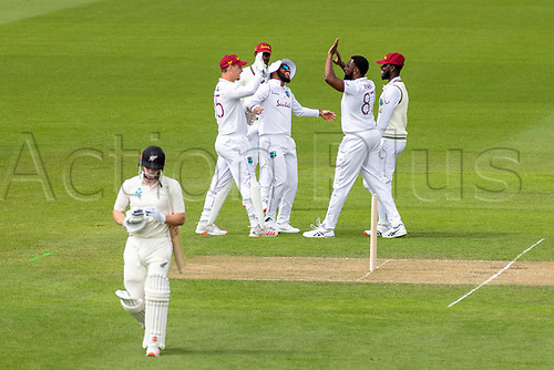 20th November 2020; John Davies Oval, Queenstown, Otago, South Island of New Zealand. West Indies celebrate the wicket of NZ A's Henry Nicholls during New Zealand A versus  West Indies