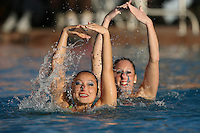 STANFORD, CA - FEBRUARY 7:  Kimiko Koko Urata (front) and Morgan Fuller (back) of the Stanford Cardinal during Stanford's 88-78 win against the Incarnate Word Cardinals on February 7, 2009 at Avery Aquatic Center in Stanford, California.