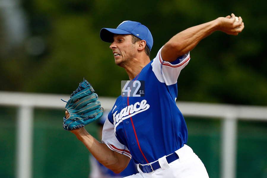 22 June 2011: Laurent Andrades of Team France pitches against AIST during AIST Alumni 5-3 win over France, at the 2011 Prague Baseball Week, in Prague, Czech Republic.