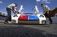 .The Brumos Porsche Daytona Prototype gets serviced during practice...