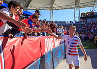 CARSON, CA - FEBRUARY 1: Walker Zimmerman #5 of the United States celebrating with fans during a game between Costa Rica and USMNT at Dignity Health Sports Park on February 1, 2020 in Carson, California.