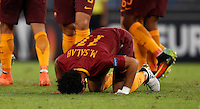 Roma's Mohamed Salah celebrates after scoring during the Europa League Group E soccer match between Roma and Astra Giurgiu at Rome's Olympic stadium, 29 September 2016. Roma won 4-0.<br /> UPDATE IMAGES PRESS/Isabella Bonotto