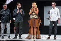 Estelle Mossely portant la robe de Jeremie Pujo et Maxime Gaudet au Salon du Chocolat coiffure Franck Provost maquillage Make Up For Ever Paris 2017 - SALON DU CHOCOLAT 2017, 27/10/2017, PARIS, FRANCE