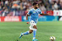 FOXBOROUGH, MA - SEPTEMBER 11: Ismael Tajouri-Shradi #17 of New York City FC looks to pass during a game between New York City FC and New England Revolution at Gillette Stadium on September 11, 2021 in Foxborough, Massachusetts.