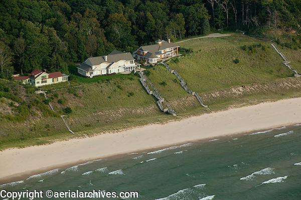 aerial photograph lakefront homes Michigan shoreline, Lake Michigan