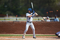 Trenton Walsh (36) of the Catawba Indians at bat during game two of a double-header against the Queens Royals at Tuckaseegee Dream Fields on March 26, 2021 in Kannapolis, North Carolina. (Brian Westerholt/Four Seam Images)