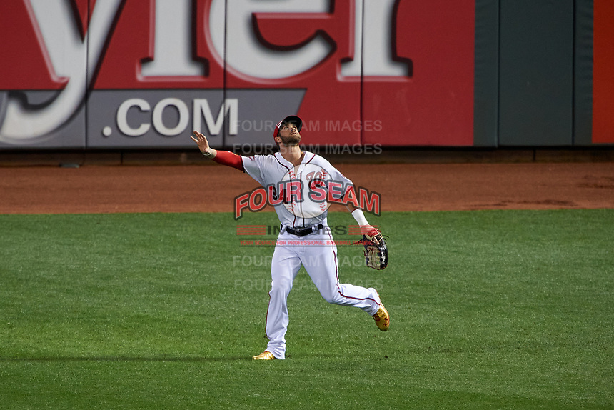 Washington Nationals outfielder Bryce Harper calls for a fly ball during the MLB All-Star Game on July 14, 2015 at Great American Ball Park in Cincinnati, Ohio.  (Mike Janes/Four Seam Images)