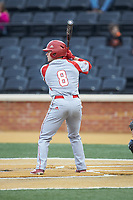 Alex Perry (8) of the Sacred Heart Pioneers at bat against the Wake Forest Demon Deacons at David F. Couch Ballpark on February 15, 2019 in  Winston-Salem, North Carolina.  The Demon Deacons defeated the Pioneers 14-1. (Brian Westerholt/Four Seam Images)